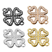 Cubic Zirconia Micro Pave Brass Connector, Four Leaf Clover, plated, micro pave cubic zirconia & 1/1 loop, more colors for choice, 15.5x20.5x2mm, Hole:Approx 1.5mm, Sold By PC