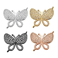 Cubic Zirconia Micro Pave Brass Connector, Butterfly, plated, micro pave cubic zirconia & 1/1 loop, more colors for choice, 25x22x3mm, Hole:Approx 1mm, Sold By PC