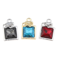 Crystal Zinc Alloy Pendants, with Crystal, Square, plated, faceted, more colors for choice, lead & cadmium free, 14x22x5mm, Hole:Approx 2mm, Sold By PC