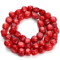 Natural Coral Beads, Nuggets, red, 8-10mm, Hole:Approx 1mm, Length:Approx 15.5 Inch, Approx 42PCs/Strand, Sold By Strand