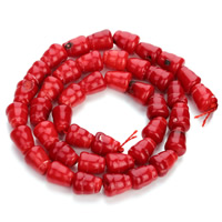Natural Coral Beads, Drum, red, 8x9mm, Hole:Approx 1mm, Length:Approx 15.5 Inch, Approx 40PCs/Strand, Sold By Strand