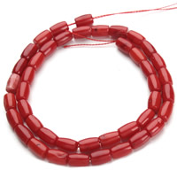 Natural Coral Beads, Drum, red, 6x9mm, Hole:Approx 1mm, Length:Approx 15.5 Inch, Approx 43PCs/Strand, Sold By Strand