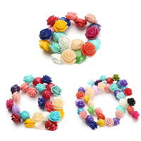 Natural Coral Beads, Flower, different size for choice, mixed colors, Hole:Approx 1mm, Length:Approx 15.5 Inch, Sold By Strand