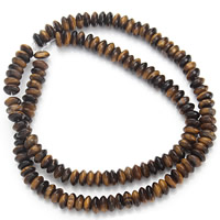 Tiger Eye Beads, Flat Round, yellow, 3x6mm, Hole:Approx 1mm, Length:Approx 15.5 Inch, Approx 130PCs/Strand, Sold By Strand