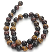 Tiger Eye Beads, Round, different size for choice, mixed colors, Hole:Approx 1mm, Length:Approx 15.5 Inch, Sold By Strand