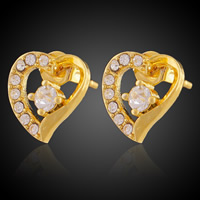 Cubic Zircon Brass Earring, Heart, 18K gold plated, with cubic zirconia, lead & cadmium free, 11mm, Sold By Pair