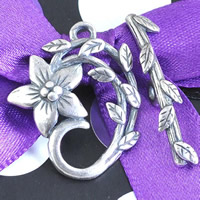 Zinc Alloy Toggle Clasp, Flower, antique silver color plated, lead & cadmium free, 22x26mm, Hole:Approx 1-1.5mm, Sold By PC