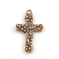Zinc Alloy Cross Pendants, antique copper color plated, lead & cadmium free, 17x27mm, Hole:Approx 1-1.5mm, Sold By PC