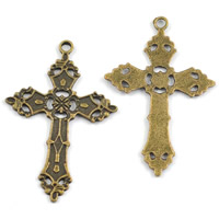 Zinc Alloy Cross Pendants, antique bronze color plated, lead & cadmium free, 36x56mm, Hole:Approx 1-1.5mm, Sold By PC