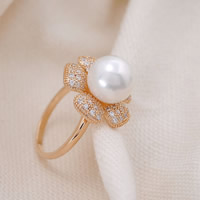 Cubic Zirconia Micro Pave Brass Finger Ring, with ABS Plastic Pearl, Flower, gold color plated, micro pave cubic zirconia, nickel, lead & cadmium free, 20x32mm, US Ring Size:5.5, Sold By PC