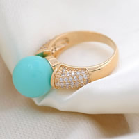 Cubic Zirconia Micro Pave Brass Finger Ring, with South Sea Shell, Round, plated, micro pave cubic zirconia, more colors for choice, nickel, lead & cadmium free, 23x32mm, US Ring Size:6.5, Sold By PC