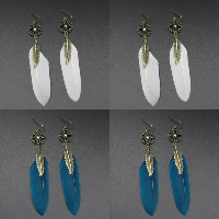 Fashion Feather Earring , with Zinc Alloy, brass earring hook, antique bronze color plated, for woman & with rhinestone, more colors for choice, 15x70mm, Sold By Pair