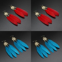 Fashion Feather Earring , with Zinc Alloy, brass earring hook, gold color plated, for woman, more colors for choice, 20x105mm, Sold By Pair