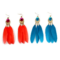 Fashion Feather Earring , with Crystal & Zinc Alloy, brass earring hook, gold color plated, for woman, more colors for choice, 16x65mm, Sold By Pair