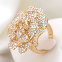 Cubic Zirconia Micro Pave Brass Finger Ring, Flower, gold color plated, micro pave cubic zirconia, nickel, lead & cadmium free, 31x31mm, US Ring Size:6.5, Sold By PC