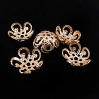 Brass Bead Cap, Flower, rose gold color plated, nickel, lead & cadmium free, 10x45mm, Hole:Approx 1-1.5mm, Sold By PC