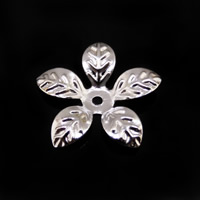 Iron Bead Caps, Flower, platinum color plated, lead & cadmium free, 15x14.5mm, Hole:Approx 1mm, 1000PCs/Bag, Sold By Bag