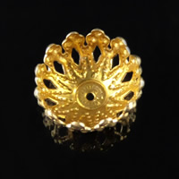 Iron Bead Caps, Flower, gold color plated, lead & cadmium free, 12x6mm, Hole:Approx 1mm, Sold By PC