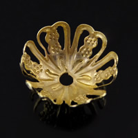 Iron Bead Caps, Flower, gold color plated, lead & cadmium free, 13.5x7mm, Hole:Approx 1mm, 1000PCs/Bag, Sold By Bag