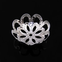 Iron Bead Caps, Flower, platinum color plated, lead & cadmium free, 12.5mm, Hole:Approx 1mm, 1000PCs/Bag, Sold By Bag