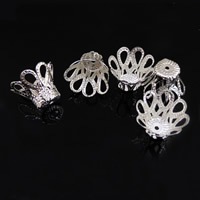 Iron Bead Caps, Flower, platinum color plated, lead & cadmium free, 15.5x12.5mm, Hole:Approx 1mm, Sold By PC