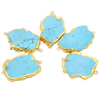 Turquoise Connector, Synthetic Turquoise, with iron bail, Nuggets, gold color plated, 1/1 loop, blue, 30-40mm, Hole:Approx 1.5mm, Sold By PC