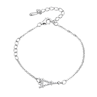 Cubic Zirconia Micro Pave Sterling Silver Bracelet, 925 Sterling Silver, with 1.8lnch extender chain, Eiffel Tower, oval chain & micro pave cubic zirconia & for woman, 15x6.5x2mm, 2x1.5x0.2mm, Length:Approx 5 Inch, Sold By Strand