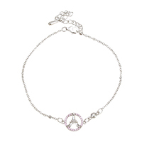 Cubic Zirconia Micro Pave Sterling Silver Bracelet, 925 Sterling Silver, with 2.5lnch extender chain, Eiffel Tower, oval chain & micro pave cubic zirconia & for woman, 13.5x10x2mm, 7.5x3x2.5mm, 2x1.5x0.2mm, Length:Approx 7 Inch, Sold By Strand