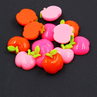Mobile Phone DIY Decoration, Resin, Apple, flat back, mixed colors, 16x19mm, Sold By PC