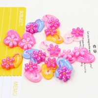 Mobile Phone DIY Decoration, Resin, Heart, flat back & with round spot pattern & colorful powder, mixed colors, 19x19mm, Sold By PC
