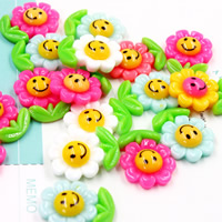 Mobile Phone DIY Decoration, Resin, Flower, flat back, mixed colors, 17x23mm, Sold By PC