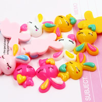 Mobile Phone DIY Decoration, Resin, Rabbit, flat back, mixed colors, 27x18mm, Sold By PC