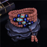 108 Mala Beads, Rudraksha, with Indonesia & Black Agate & Blue Agate, synthetic, Buddhist jewelry & Unisex & 4-strand, 7x9mm, Length:Approx 27 Inch, 108PCs/Strand, Sold By Strand