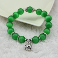 Cats Eye Bracelets, with Zinc Alloy, synthetic, for woman, more colors for choice, 12mm, Length:Approx 7 Inch, Sold By Strand