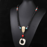 108 Mala Beads, Coco, with Synthetic Lapis & Synthetic Turquoise & Cinnabar & Zinc Alloy, synthetic, Buddhist jewelry & for woman & 3-strand, 5x9mm, Length:Approx 25.5 Inch, 108PCs/Strand, Sold By Strand