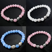 Cats Eye Bracelets, with Zinc Alloy, Fish, synthetic, for woman, more colors for choice, 8mm, Length:Approx 7 Inch, Sold By Strand