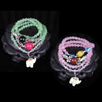 Cats Eye Bracelets, with Crystal & Zinc Alloy, Elephant, synthetic, for woman & 4-strand, more colors for choice, 6mm, Length:Approx 27 Inch, Sold By Strand