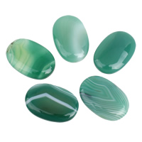 Agate Cabochon, Lace Agate, Flat Oval, flat back, green, 19x30x5mm-20x30x6mm, 5PCs/Bag, Sold By Bag