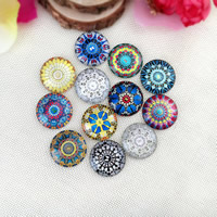Time Gem Cabochon, Glass, Flat Round, time gem jewelry & mixed pattern & different size for choice & flat back & decal, Sold By PC