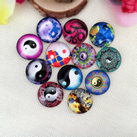 Time Gem Cabochon, Glass, Flat Round, time gem jewelry & mixed pattern & ying yang & different size for choice & flat back & decal, Sold By PC