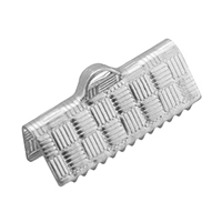 Stainless Steel Ribbon Crimp End, original color, 15x7x5.5mm, Hole:Approx 3x1.5mm, Sold By PC