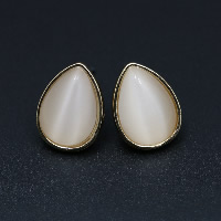 Cats Eye Earring, Zinc Alloy, with Cats Eye, brass post pin, Teardrop, gold color plated, for woman, 12x16mm, Sold By Pair