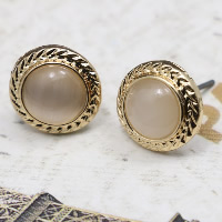 Cats Eye Earring, Zinc Alloy, with Cats Eye, brass post pin, Flat Round, gold color plated, for woman, 12.5mm, Sold By Pair