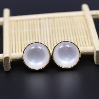 Cats Eye Earring, Zinc Alloy, with Cats Eye, brass post pin, Flat Round, gold color plated, for woman, 20x20mm, Sold By Pair