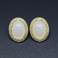 Cats Eye Earring, Zinc Alloy, with Cats Eye, brass post pin, Flat Oval, gold color plated, for woman, 20x25mm, Sold By Pair