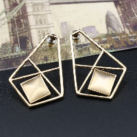 Cats Eye Earring, Zinc Alloy, with Cats Eye, brass post pin, gold color plated, for woman, 29x42mm, Sold By Pair