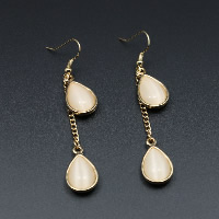 Cats Eye Earring, Zinc Alloy, with Cats Eye, brass earring hook, Teardrop, gold color plated, for woman, 13x21mm, Sold By Pair
