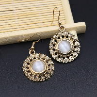 Cats Eye Earring, Zinc Alloy, with Cats Eye, brass earring hook, Flat Round, gold color plated, for woman, 25mm, Sold By Pair