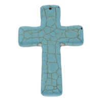 Synthetic Turquoise Pendants, Cross, blue, 4x60mm, Hole:Approx 1mm, Sold By PC