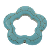 Synthetic Turquoise Pendants, Flower, blue, 34x5.5mm, Hole:Approx 1mm, Sold By PC